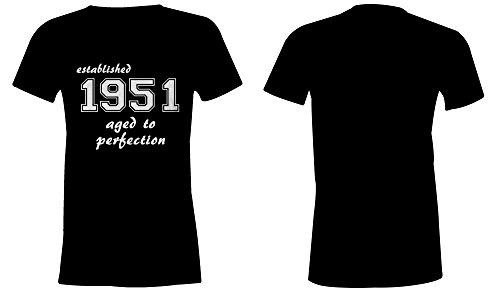 Established 1951 aged to perfection ★ Rundhals-T-Shirt Frauen-Damen ★ hochwertig bedruckt mit lustigem Spruch ★ Die perfekte Geschenk-Idee (01) schwarz