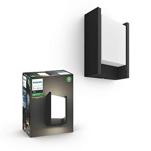 Philips Hue Fuzo Aplique exterior negro LED inteligente, luz blanca cálida regulable,...