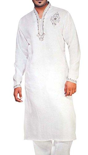 INMONARCH Mens weiße Bettwäsche Kurta Pyjama Designer Arbeiten KP0507XX-LARGE XX-Large Weiß - Womens Designer-bettwäsche