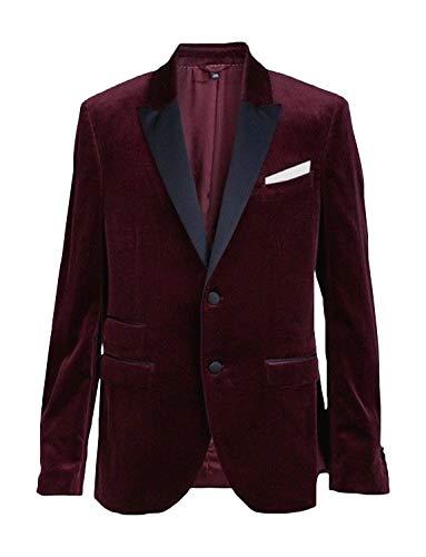 YZHEN Herren Blazer Anzug Mantel Velvet Two Button Party Smoking Jacke