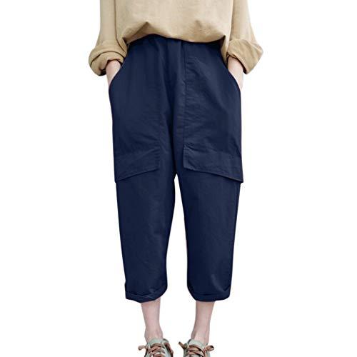 WOZOW Harem Pants Damen Capri Bettwäsche Baumwolle Hippie Solid Einfarbig Bloomers Pockets Casual Loose Long High Waist Saggy Crop Trousers (XL,Marine) -