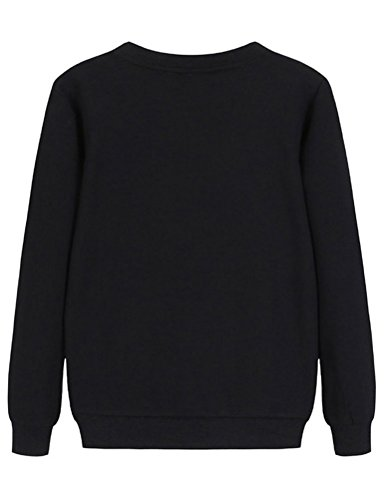 Nlife Felpa da Donna in Cotone con Collo Largo e Pullover Black