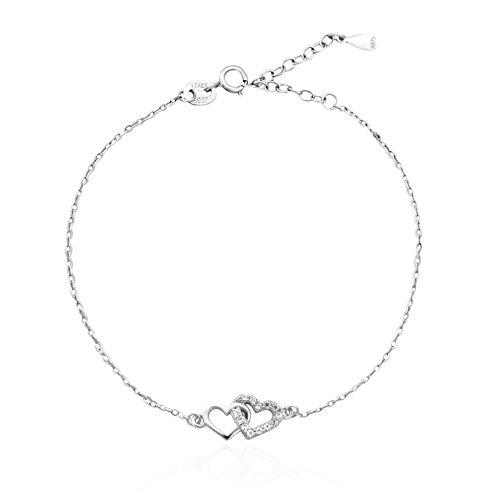 Sofia milani–braccialetto da donna doppio cuore/cuori intrecciati/cuoricini regolabile in argento sterling 925con 13zirconi + scatola regalo–30081