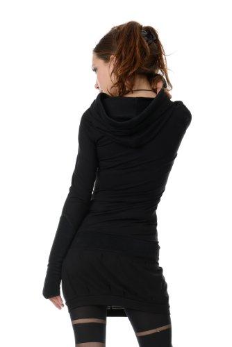 zauberhaftes Winterkleid mit Ballonrock und Kapuze mit farblich abgesetzten Fleece Details der Marke 3Elfen fair produziert Schwarz