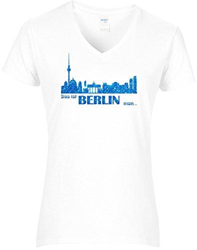 Fun Shirt Damen Hauptstadt Shirt Damen Berlin Skyline mit Schriftzug Das ist Berlin man? Party Szene T-Shirt Glitzeraufruck blau Weiß