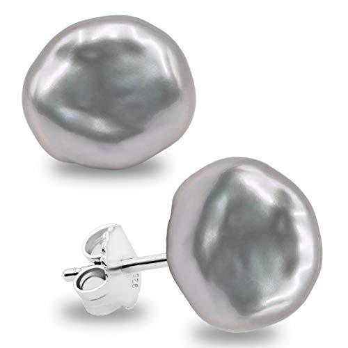 Orecchini donna perla coltivata d'acqua dolce Keshi bianco e grigio SECRET & YOU - Argento sterling 925 - Disponibile in 10 taglie da 7-8 mm a 15-16 mm