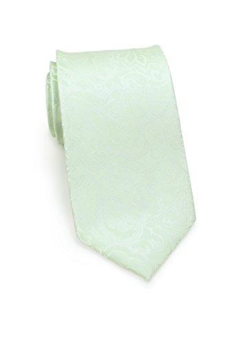PUCCINI Krawatte Herren, Paisley-Muster, Pastell, Verschiedene Farben, Mikrofaser, 8,5 cm, Handarbeit (Hellgrün)