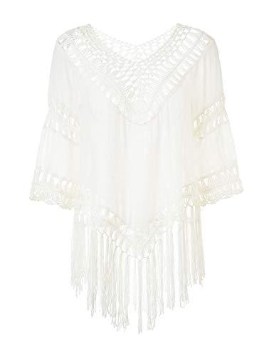 Ferand Damen Poncho Bluse Tunika Top mit V-Ausschnitt, Langen Quasten und Blumenaufdrucken, Einheitsgröße, Stil 4: Weiß, Einheitsgröße, Stil 4: Weiß -