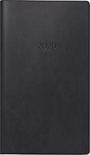 BRUNNEN 107562890 Taschen-/Wochen-Sichtkalender, Modell 756 (2 Seiten = 1 Woche, 8,7 x 15,3 cm, Kunststoff-Einband, Kalendarium 2020) schwarz