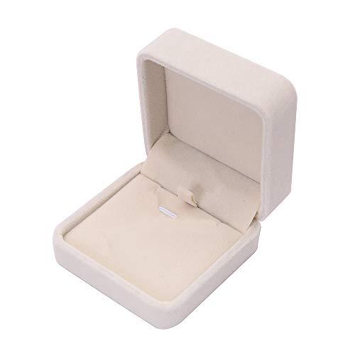 Yonlanclot Flanell Schmuckschatulle 7 * 7 Halskette Anhänger Box Beige Samt Präsentation Geschenk Schmuck Ring Halskette Armband Display Box Fall B (Armband Ring Und Geschenk-box)