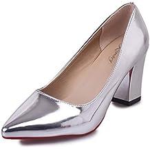e7c7b202370 Mocasines de Bombas de Las Mujeres Zapatos de Oficina Confortable Plaza  talón Elegante Corte Zapatos Damas