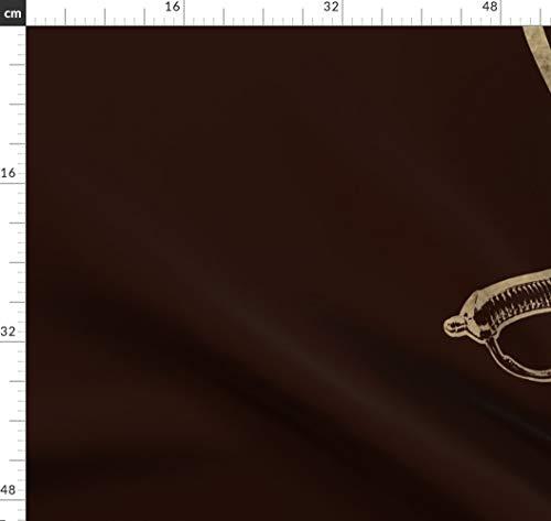 Pirat, Piratenflagge, Totenkopf Und Knochen, Sepia, Halloween, Flagge Stoffe - Individuell Bedruckt von Spoonflower - Design von Peacoquettedesigns Gedruckt auf Bio Musselin