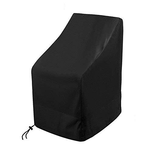 SIRUITON Housses Chaises Empilable de Jardin Imperméable Protection UV 420D Tissu Oxford - Noir 120x 65 x 65 / 80CM