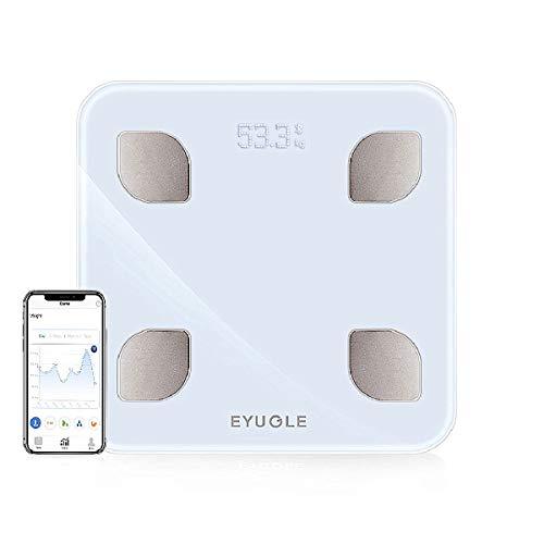 EYUGLE Báscula de Baño Digital Bluetooth con App por iOS y Android, Balanza Digital Baño de Alta Medición Precisa con Análisis Corporal de 8 Funciones, Registrar 10 usuarios, 5-150KG (Blanco)