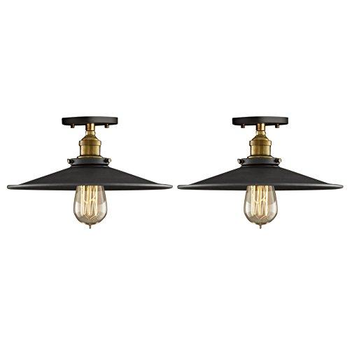 Fuloon Lampe Vintage Industrie, 2 x E27 Deckenleuchte Industrielampe Retro Edison Loft Pendelleuchte Lampenschirm für Cafe Bar DIY Balkon Veranda Esszimmer Küche Lampe leuchte