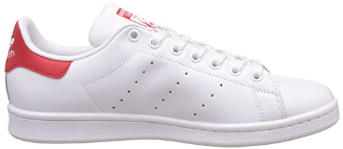 adidas Stan Smith, Baskets Basses Homme Blanc (Running White Ftw/Collegiate Red)