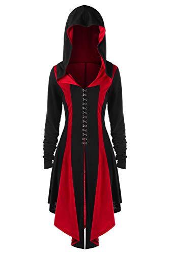 Icewalker Abrigo Steampunk para Mujer Traje Gotico Retro Esmoquin Victoriano Roja,M