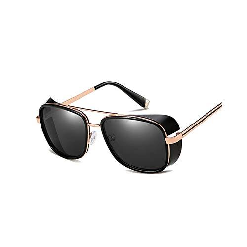 FGRYGF-eyewear2 Sport-Sonnenbrillen, Vintage Sonnenbrillen, Tony Stark Iron Man Sunglasses Men Women Steampunk Sun Glasses Male Vintage Gradient Red Sunglass UV400 BlackGray