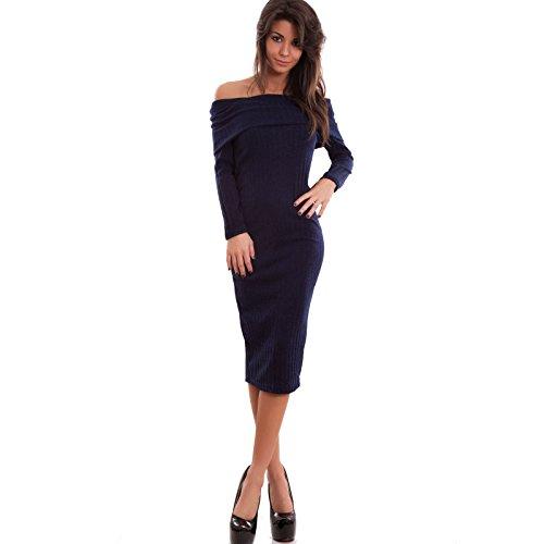 Toocool - Vestito donna abito midi tubino costine maniche lunghe carmen nuovo AS-1294 Blu scuro