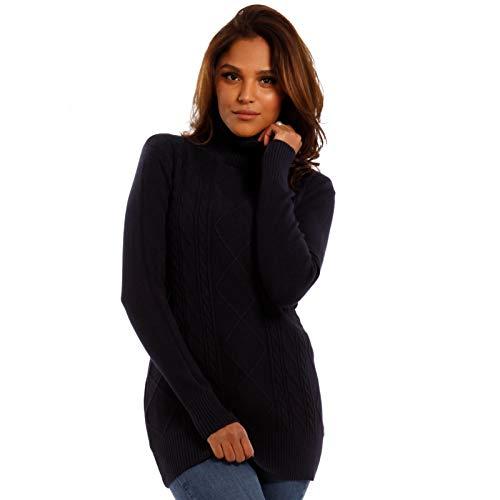 YC Fashion & Style Damen Rollkragen Basic Pullover mit Flechtmuster Herbst Winter, Farbe:Dunkelblau, Größe:One Size - Pullover Mit Flechtmuster