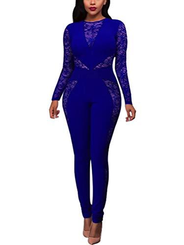 ORANDESIGNE Donna Sexy Elegante Tuta Overall Manica Lunga Vita Alta Pizzo  Girocollo Bodycon Jumpsuit Playsuit Rompers 2b598df3862a