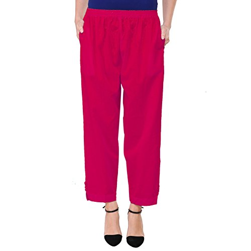 Vastraa Fusion Women Solid Pink Color Khadi Flex Cotton Pant Style Palazzo