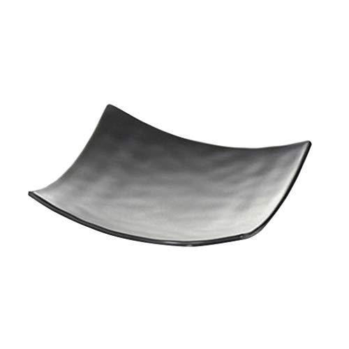 Dapengzhanchi Flache Platte Snack Dish Kreative Grill Shaped Kunststoffplatte Melamin Geschirr Tisch Tisch Container Innen-und Außenbereich Einfach Zu Reinigen (Color : Black, Size : LJP3008)