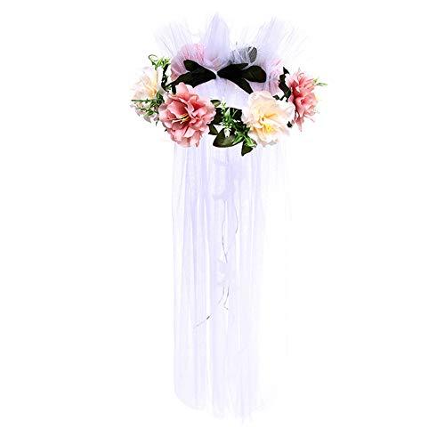 Gespout 1 Stück Künstliche Blumen Schleier Kopfschmuck Blumenstirnband Haarkranz Band Garland Stirnband mit verstellbarem Haarschmuck für Braut Brautjungfer Mädchen Urlaub Strand Foto Requisiten (Blumen Schleier Und)