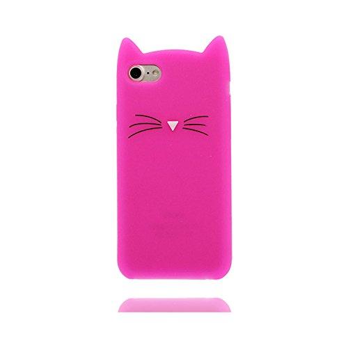 iPhone 7 Plus Custodia, [ gatto 3D Cartoon Cat Rosa ] , morbida guarnizione TPU in gomma antigraffio protettiva Case copertura per iPhone 7 Plus 5.5 pollice Cover & ring supporto Rosa 2