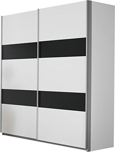 Rauch Schwebetürenschrank Weiß 2-türig , Absetzung Grau Metallic Nachbildung, BxHxT 181x197x62 cm