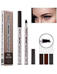 Eyebrow Tattoo Pen, Tattoo Augenbrauenstift mit Tips Wasserdichte Langlebige Verfassungs Brauenstifte Flüssige Augenbraue Bleistift für Make-up (# 03-Dunkelgrau)