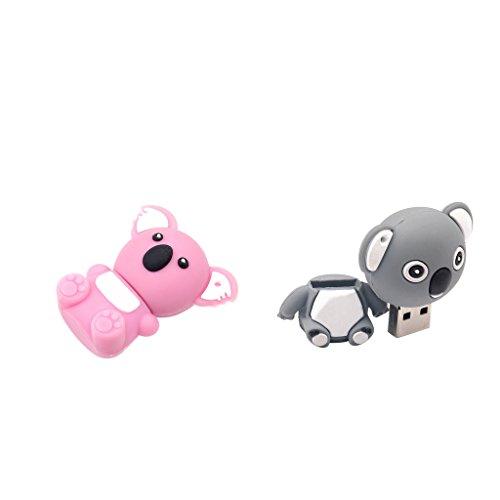 Homyl 2x Koala Form 64GB Niedlich Flash Drive USB-Speicher-Stick USB Memorystick USB-Stift Memorystick Flash-Laufwerk für Laptops, Tablets, Fernseher, Spielkonsolen, Autoradios und mehr - Grau + Rosa
