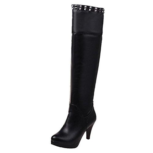Mee Shoes Damen high heels Plateau runde langschaft Stiefel Schwarz