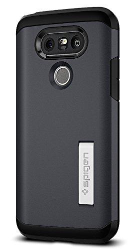 LG G5 Hülle, Spigen® [Tough Armor] Extrem Fallschutz [Metal Slate] Doppelte Schutzschicht Stoßabweisende Handyhülle Silikon TPU Innenteil + Polykarbonat Außenteil Schutzhülle für LG G5 Case Cover Metal Slate (A18CS20138)