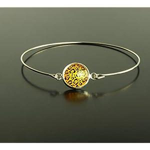 Armreifen Leopardenmuster Leo Animal Print Flecken braun orange Muster Cabochon Glas Armband silbern bronze golden…