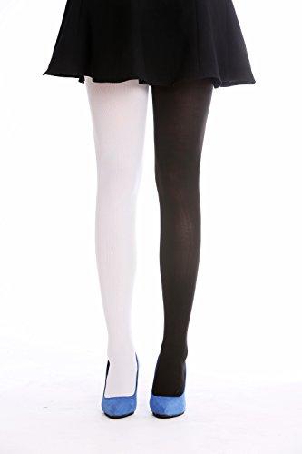 DRESS ME UP WZ-013BW-black-white Strumpfhose Pantyhose Damenkostüm Party Karneval Halloween Schwarz Weiß S/M