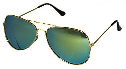 Foxxeo verspiegelte Pilotenbrille für Karneval Party Brille Pilot Gold Blau Sonnenbrille