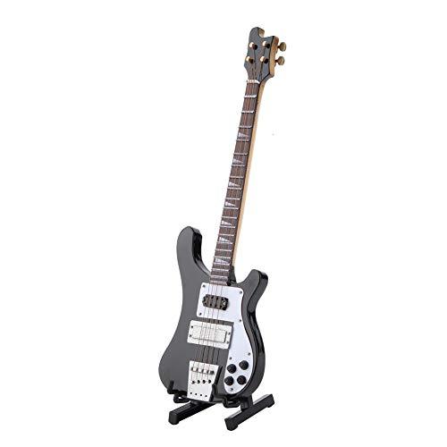 Hztyyier Ornamento Strumento in Miniatura Bass Guitar Nero Modello Replica con Supporto e Custodia Decorazione Regalo