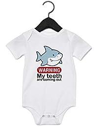 Promini Kids Warning My Dientes - Body para bebé, color blanco