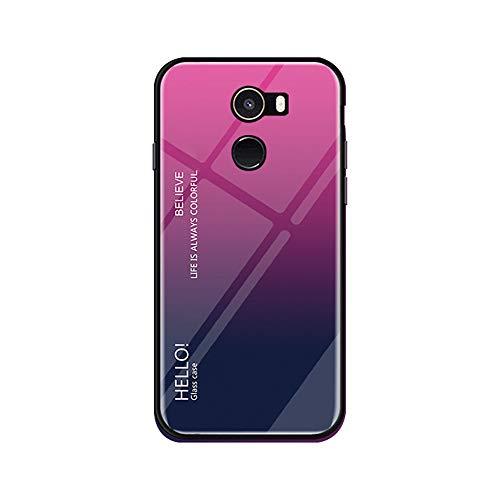 Funda Xiaomi Mi Mix 2 Vidrio Templado,Ultra Fina TPU + Cristal Templado Cubierta Trasera Carcasa Gradiente de Color es Durable para Xiaomi Mi Mix 2 (Xiaomi Mi Mix 2, Rosa + Azul)