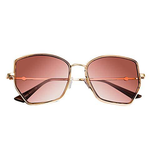 fazry Herren Damen Unregelmäßiges Polygon Jahrgang Flacher Spiegel Mode Brille Brillen Sonnenbrille(Gold)