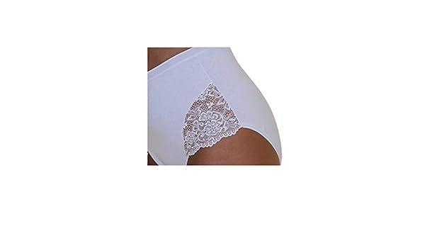 6 Slip in cotone elastcizzato donna Charina art 5230 maxi Bianco e Nero