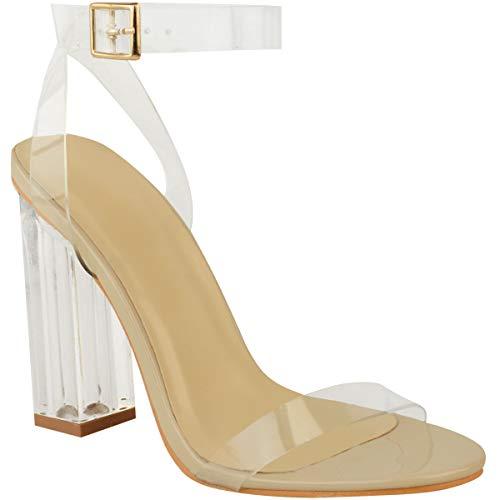 Fashion Thirsty Damen Sandaletten in Hologramm-Optik - Transparenter Blockabsatz - Nudefarbenes Lackleder-Imitat - EUR 38