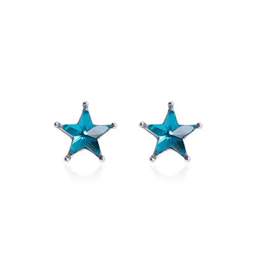 Orecchini s925 orecchini moda temperamento zircone blu orecchini a stella a cinque punte semplici orecchini selvatici sen