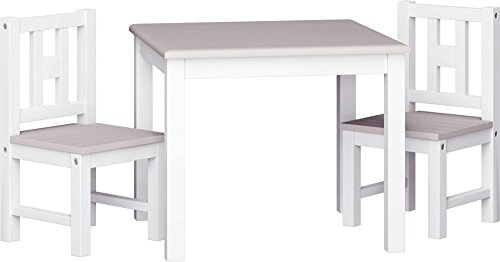 IB-Style - Toddlers wooden Table & Chair Set LUCA COLOR - Child Furniture | Set: 1 table & 2 chairs | White - Silvergrey