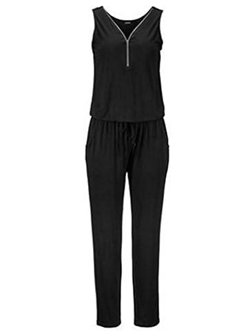 Longwu Frauen mit V-Ausschnitt Clubwear beiläufige Spielanzug -Overall-Hosen Schwarz-S