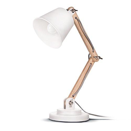 Tomons Lámpara de escritorio,columpio del brazo,lámpara de mesa ajustable y desmontable de madera para oficina, sala, estudio y dormitorio, blanco