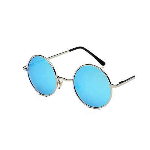 FGRYGF-eyewear2 Sport-Sonnenbrillen, Vintage Sonnenbrillen, Retro Round Glasses Männer WoMänner Metal Round Sunglasses Vintage Small Hippie Glasses Circle Lenses blue coated