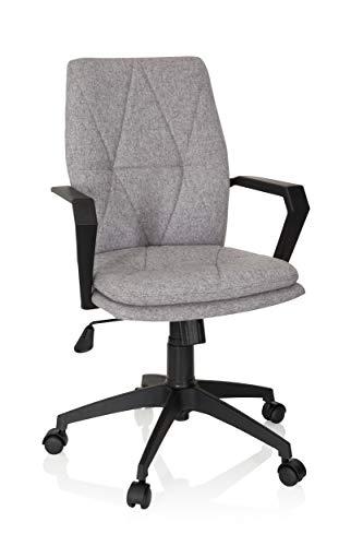 hjh OFFICE 670961 Home-Office Drehstuhl LEVIO Stoff Hellgrau moderner Bürostuhl im Retro-Look mit Wippfunktion