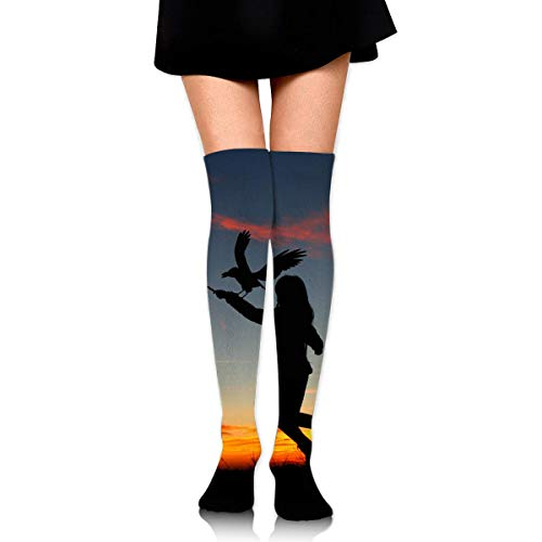 Halloween Sunset Girl Shadow Bird Sky Ankle Stockings Over The Knee Sexy Womens Sports Athletic Soccer Socks ()
